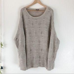 J. Jill Ivory Textured HeavyKnit Pullover Sweater